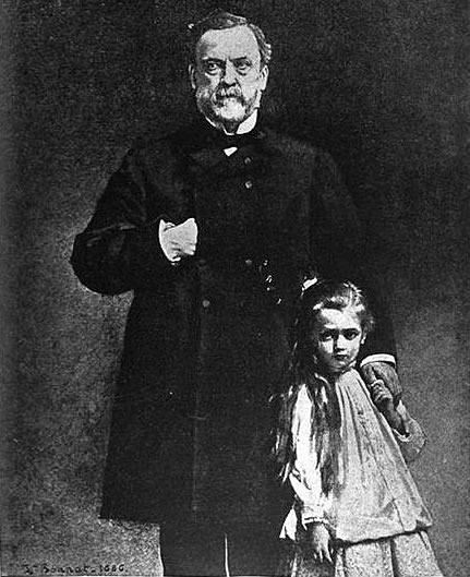 Engraving of pasteur and granddaughter Camille