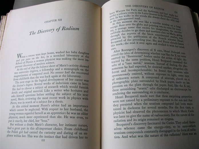 Pages from the 1938 edition of MADAME CURIE